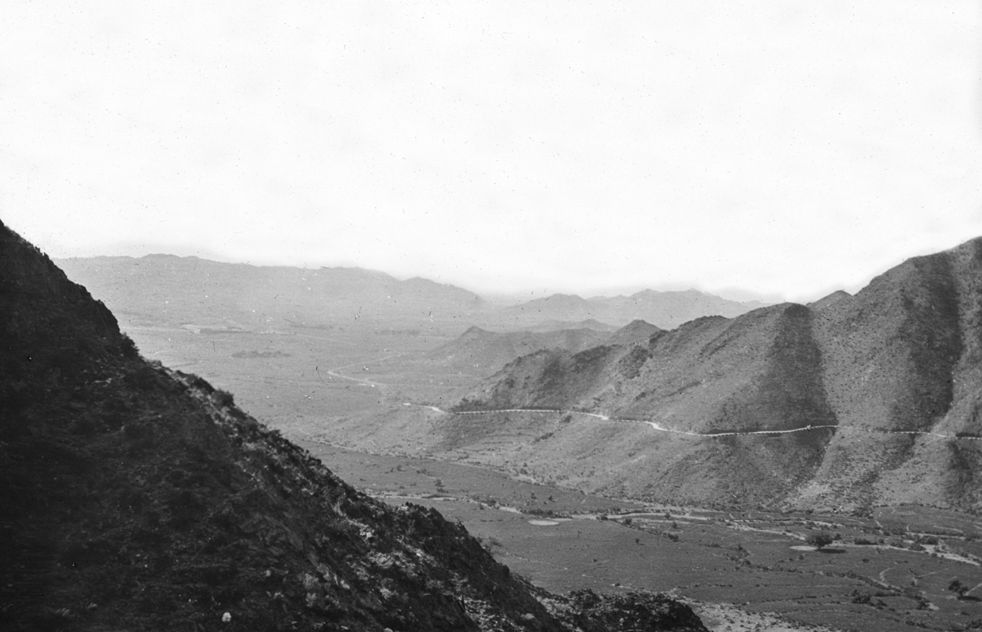 Mountain valley in [?Khyber Pass area].