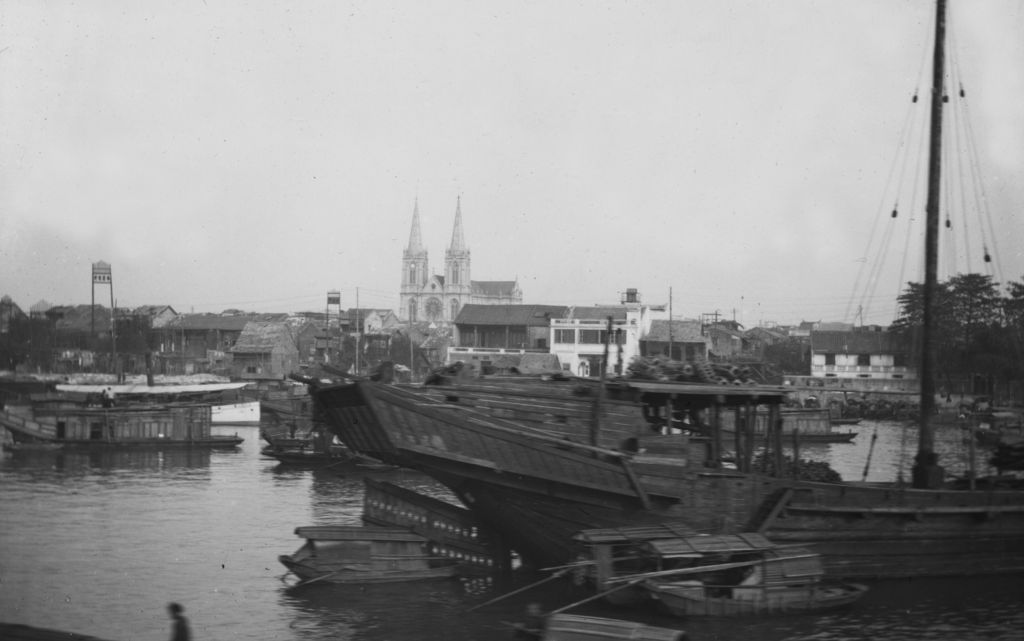 Japanese port with Gothic church.