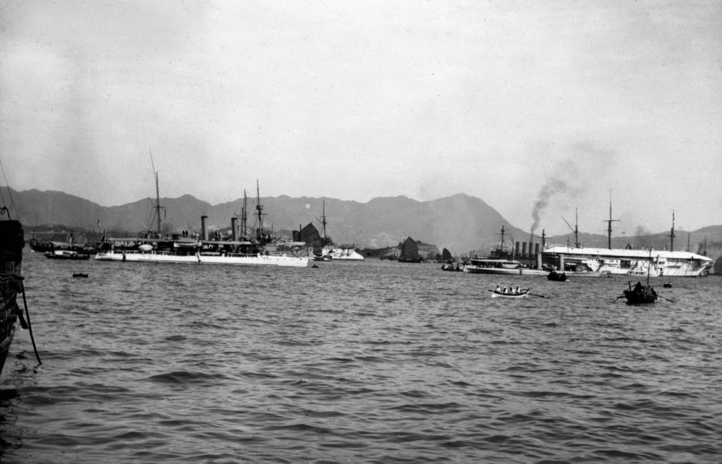 Japanese harbour with passenger ships.