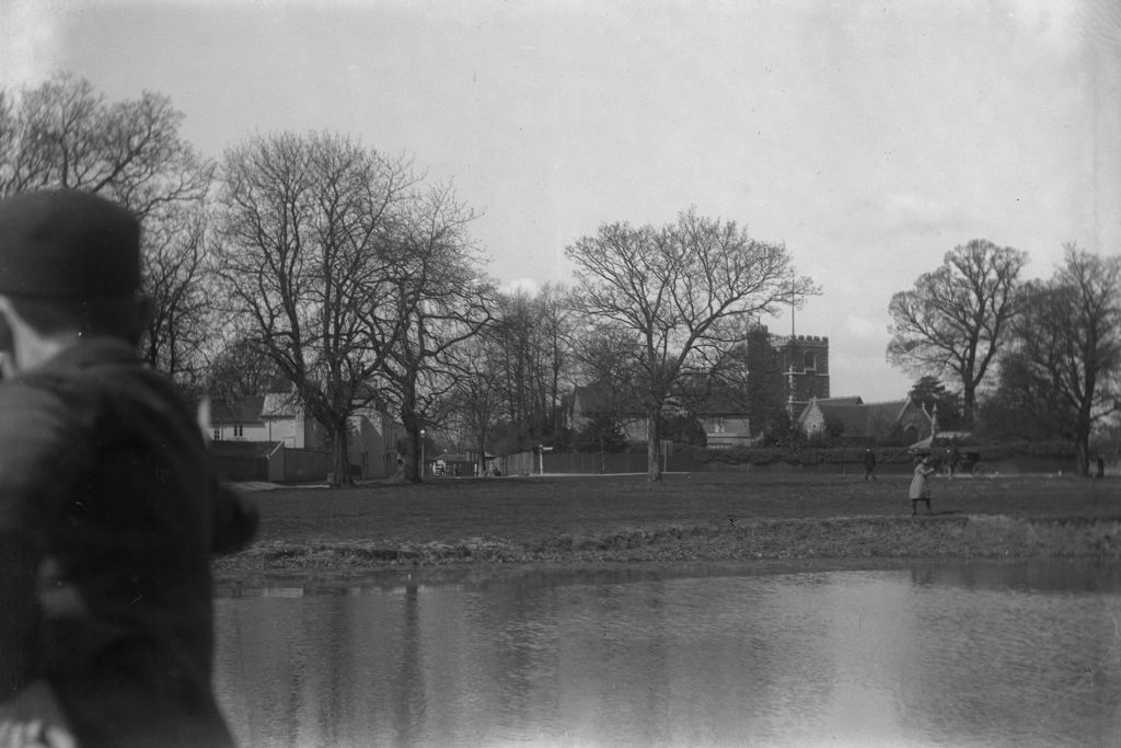 Village pond and church.
