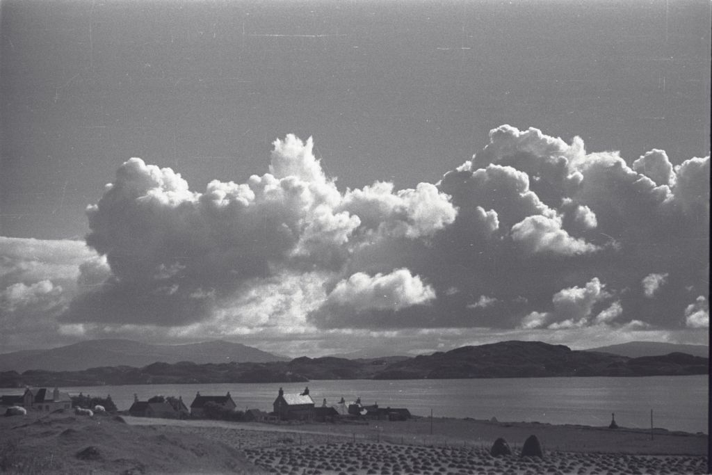 Clouds above Iona, with Mull in distance.