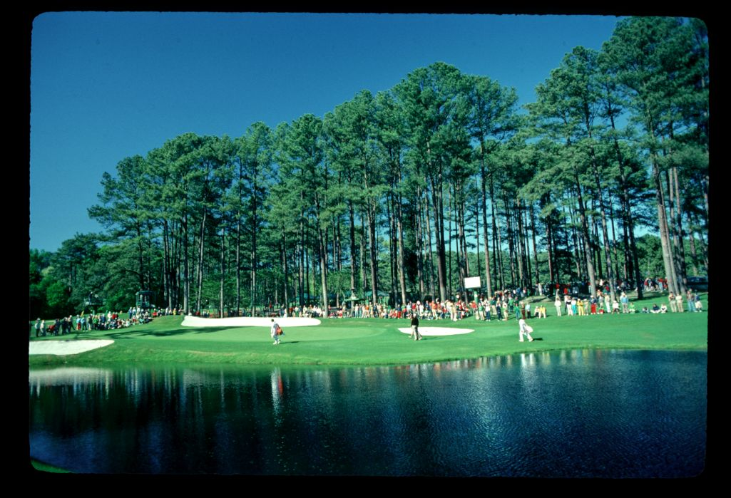The iconic 16th hole at Augusta during the 1982 Masters