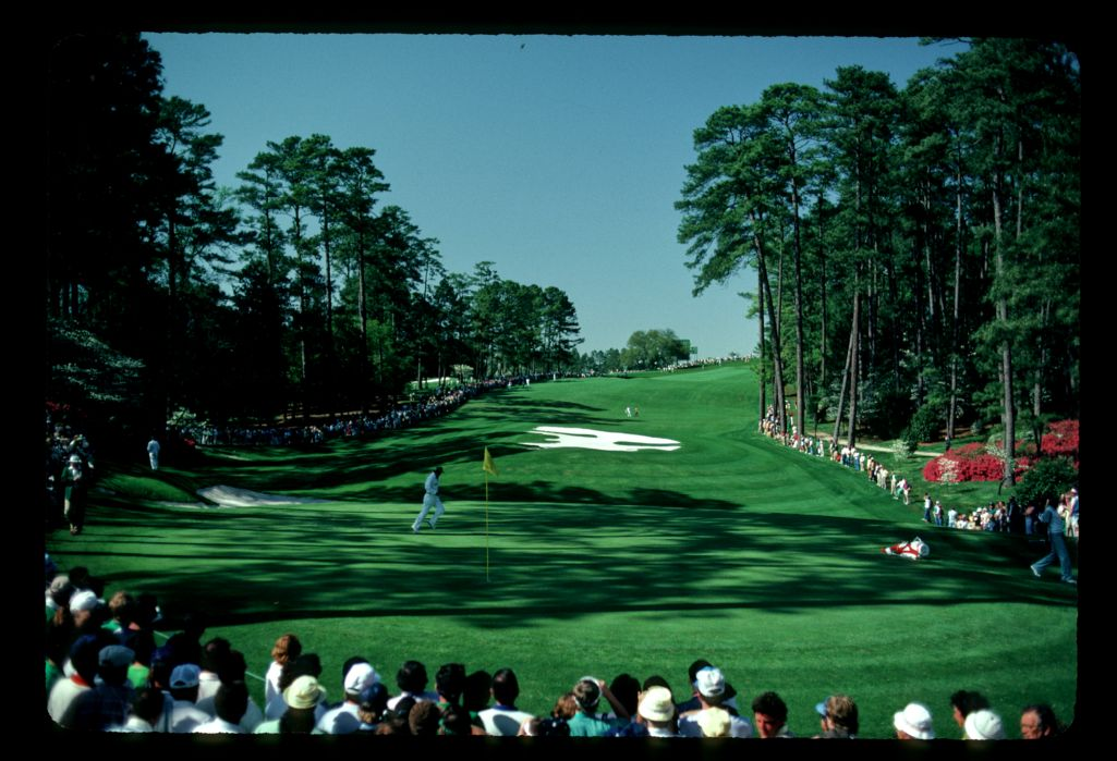 The steep nature of Augusta is rarely noticed on TV but this picture of hole 10 at the 1983 Masters demonstrates a high slope rating
