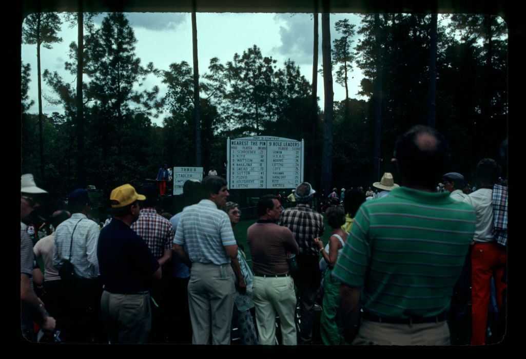 Crowds checking the results during the 1983 Masters Par Three Tournament