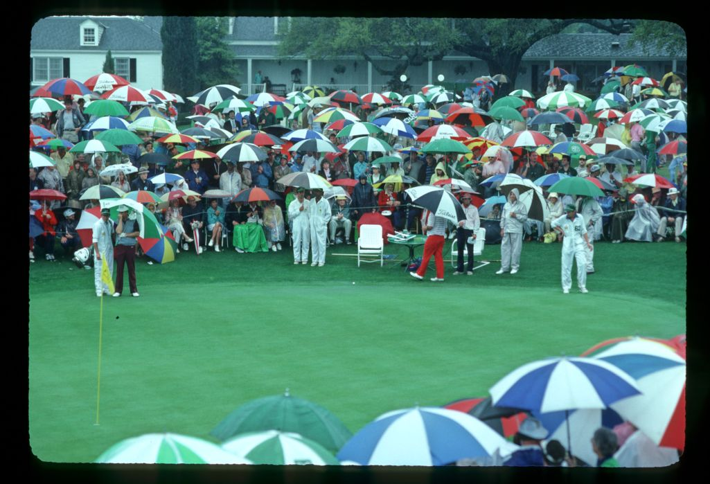 The harbinger of spring for so many golf fans, the 1983 Masters saw dramatic rainstorms increase umbrella sales