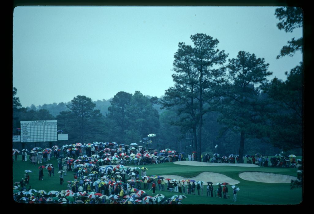 The seventh green seen through a rainstorm during the 1982 Masters