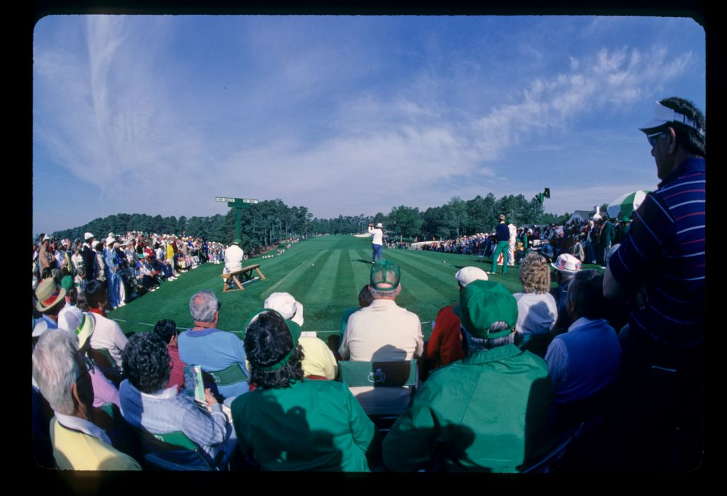 The ceremonial group of Gene Sarazen and Sam Snead on the first tee at the 1985 Masters