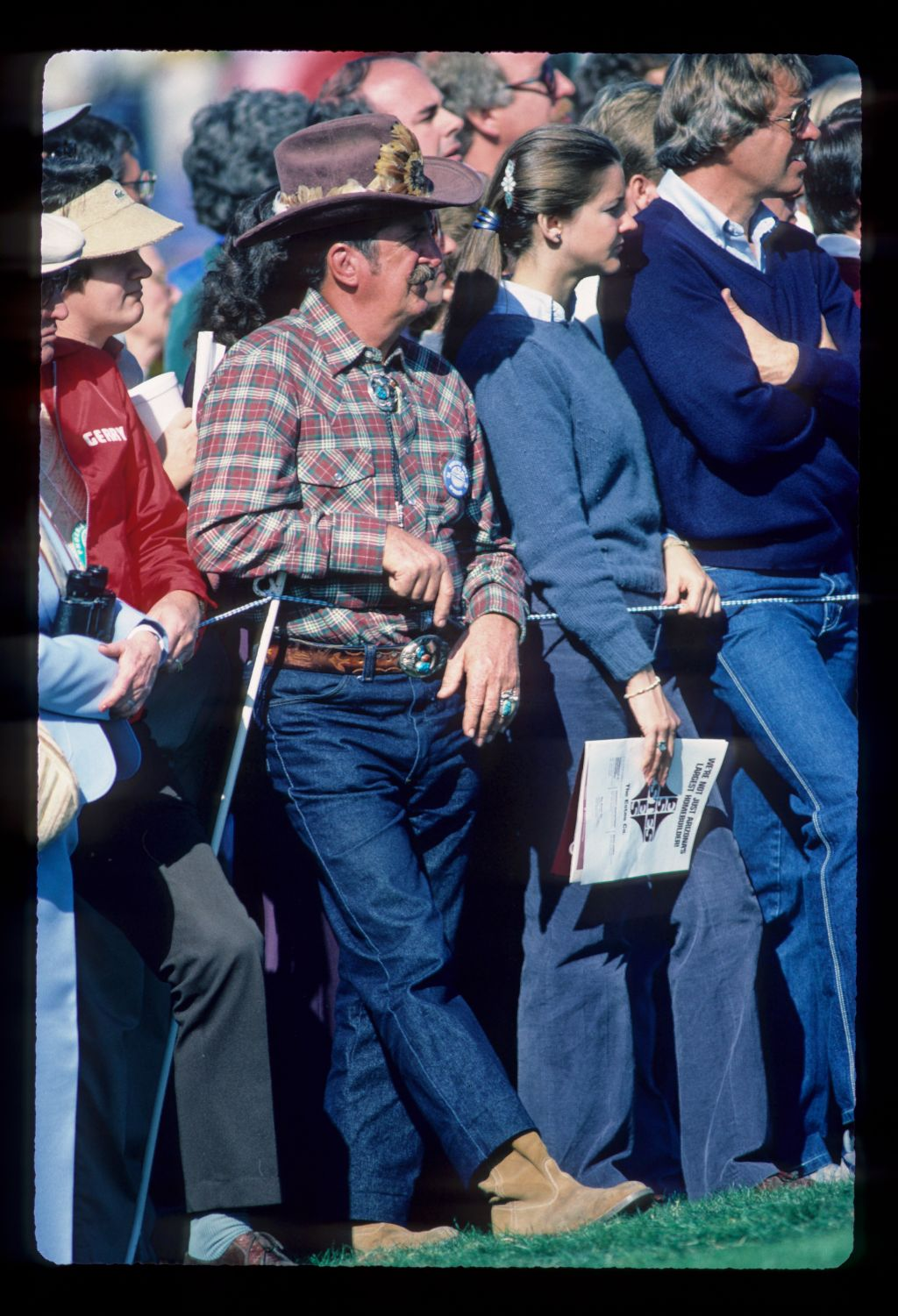 A spectator wearing a cowboy outfit at the Phoenix Open Champioship