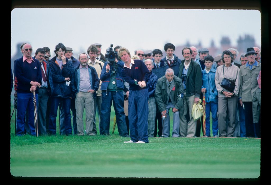 Great Britain & Ireland player Philiip Walton plays his chip shot at the Walker Cup Match at Hoylake