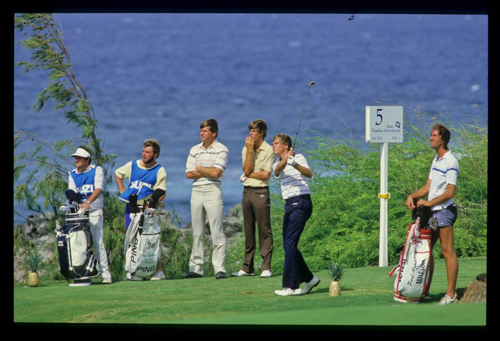 Davis Love III on the 5th tee with Nick Faldo and Paul Azinger at the Kapalua International Golf Championship