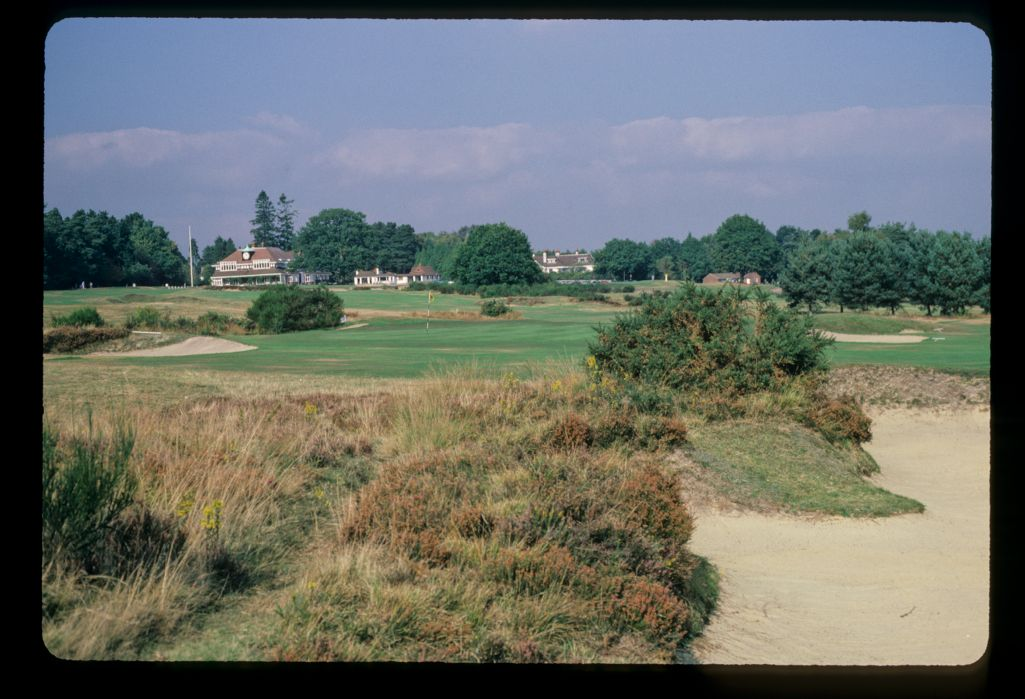 A view across the golf course to the clubhouse at the Sunningdale Golf Club