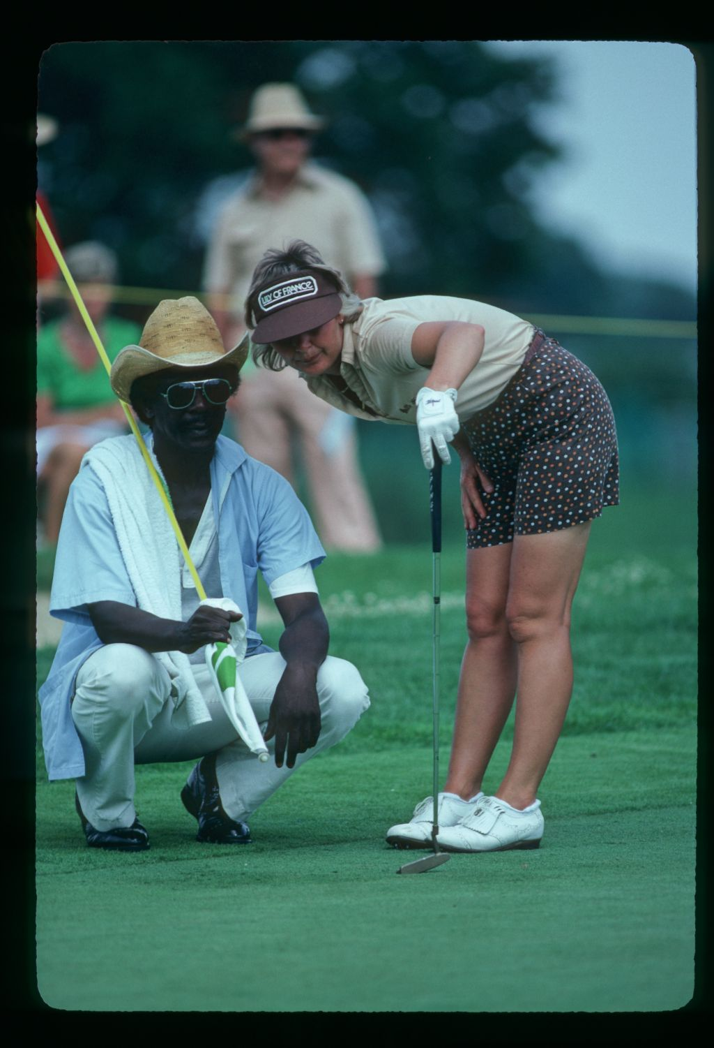 Getting advice from the caddie at the 1981 LPGA Championship at The Grizzly