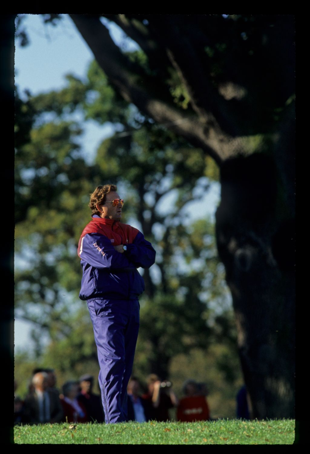A concerned Ray Floyd, captain of the American team, watches the action at the 1989 Ryder Cup