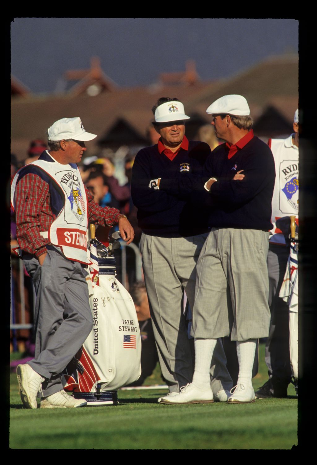 American teammates Ray Floyd and Payne Stewart wait patiently on the tee at the 1993 Ryder Cup