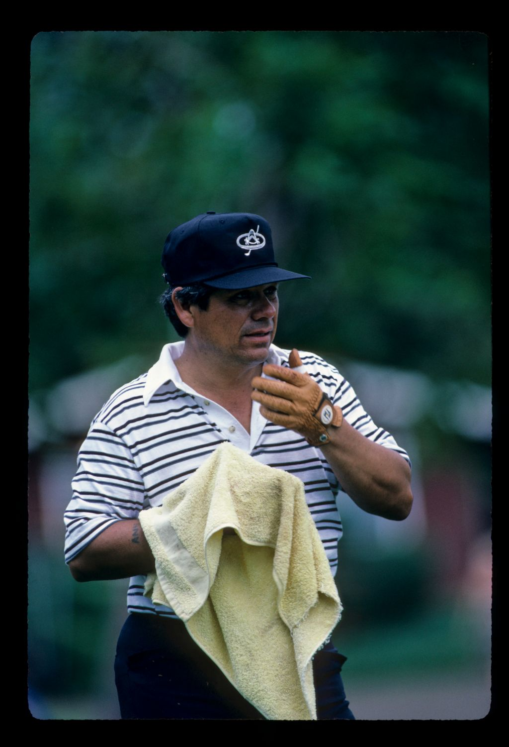 Lee Trevino feeling the heat during the 1984 Kapalua International
