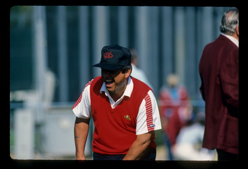 Lee Trevino laughing on the tee during the 1982 Phoenix Open