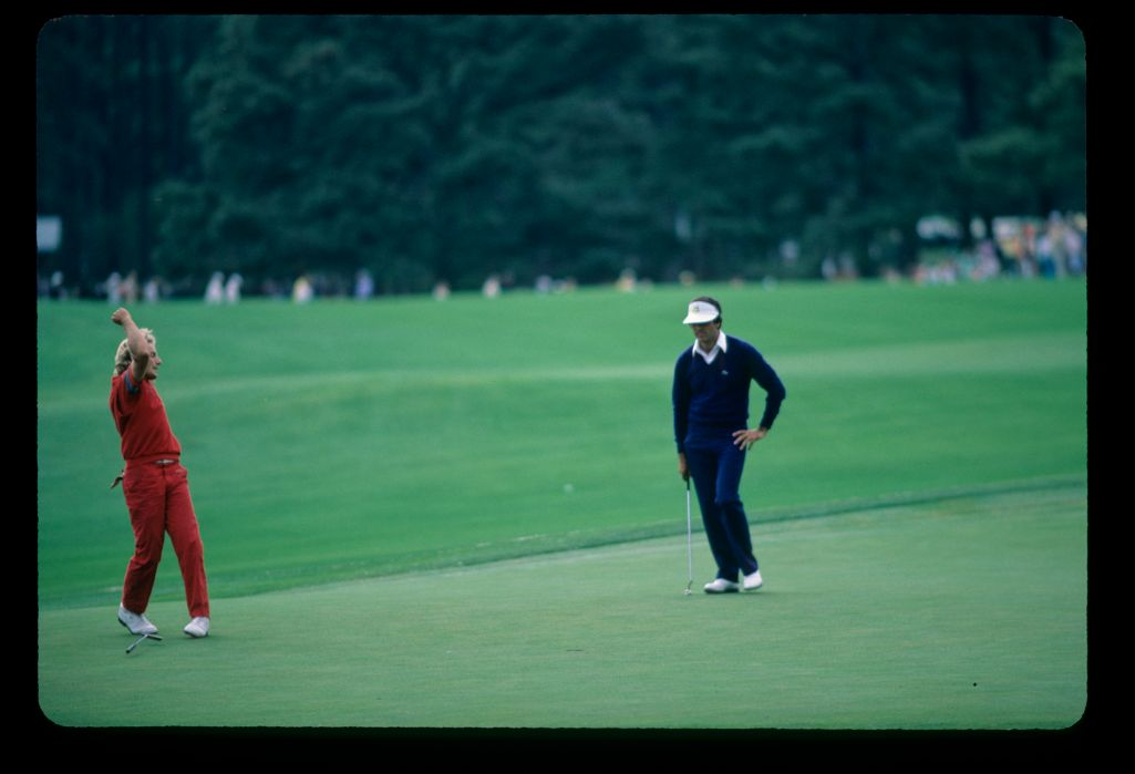 An elated Bernhard Langer birdies the 17th hole on his way to a victory at the 1985 Masters Championship