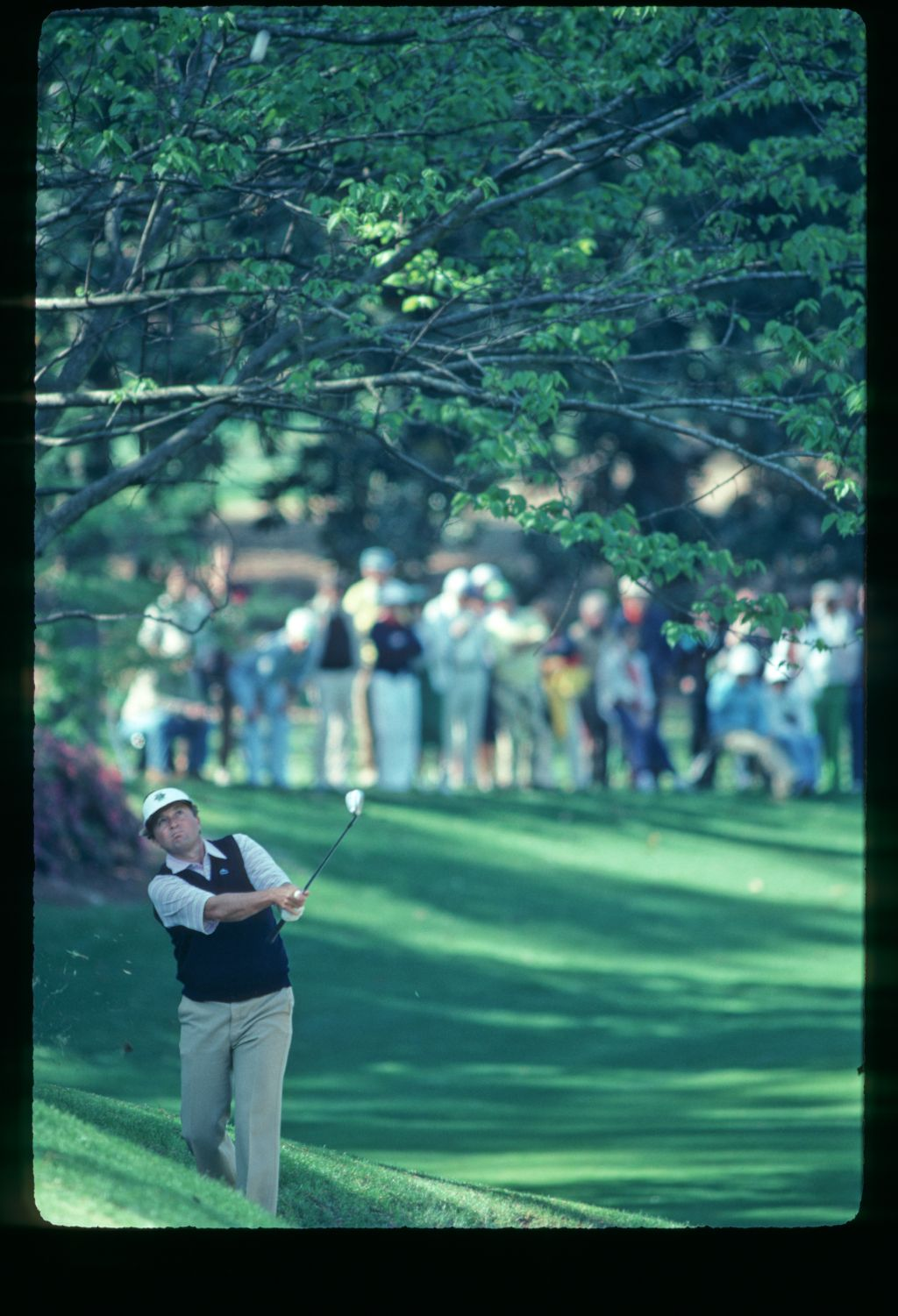 Ray Floyd plays from the sidehill rough at the 1982 Masters Championship
