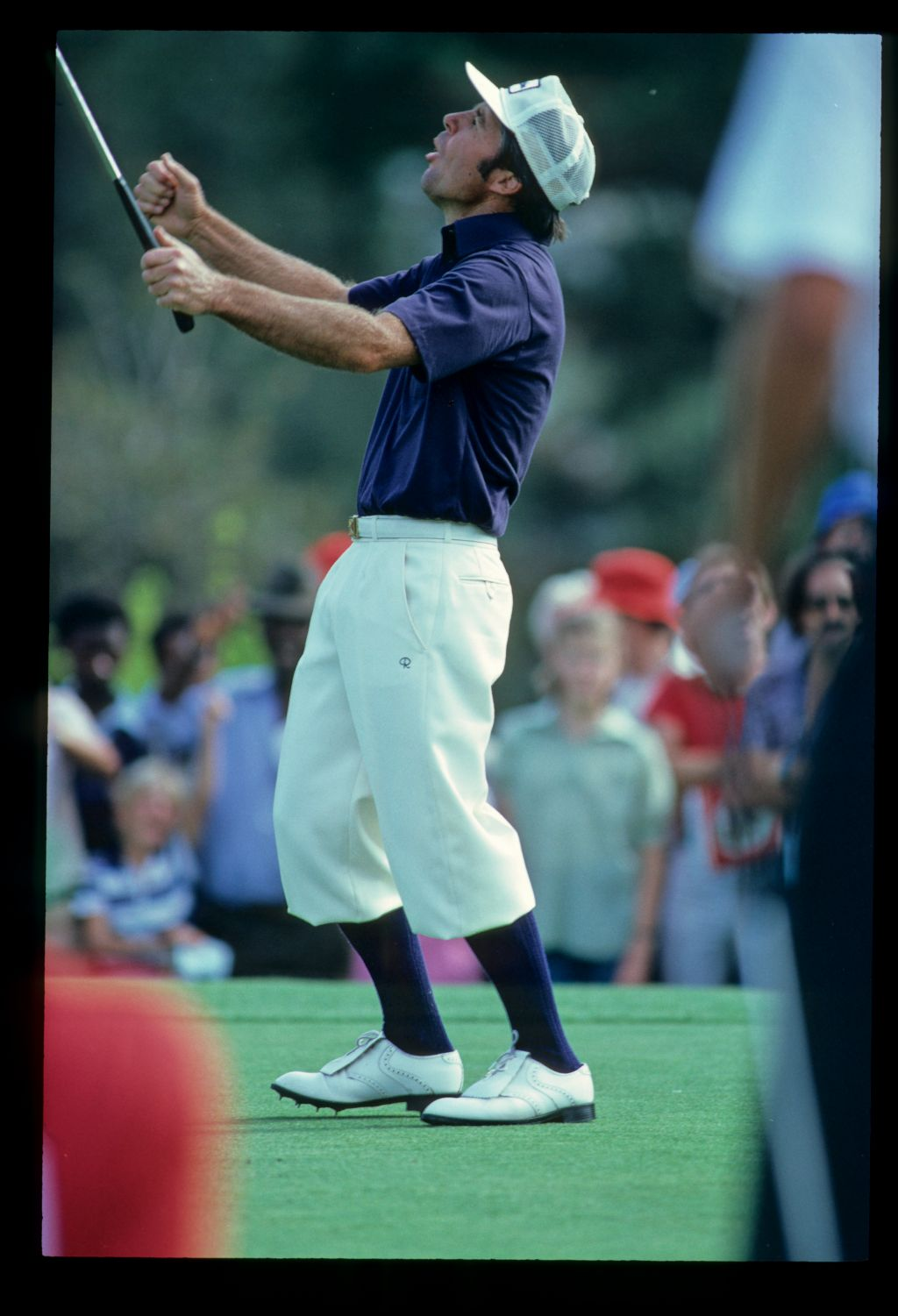 Golfer Gary Player looks to the heavens as he holes a crucial putt at the 1980 Lexington PGA