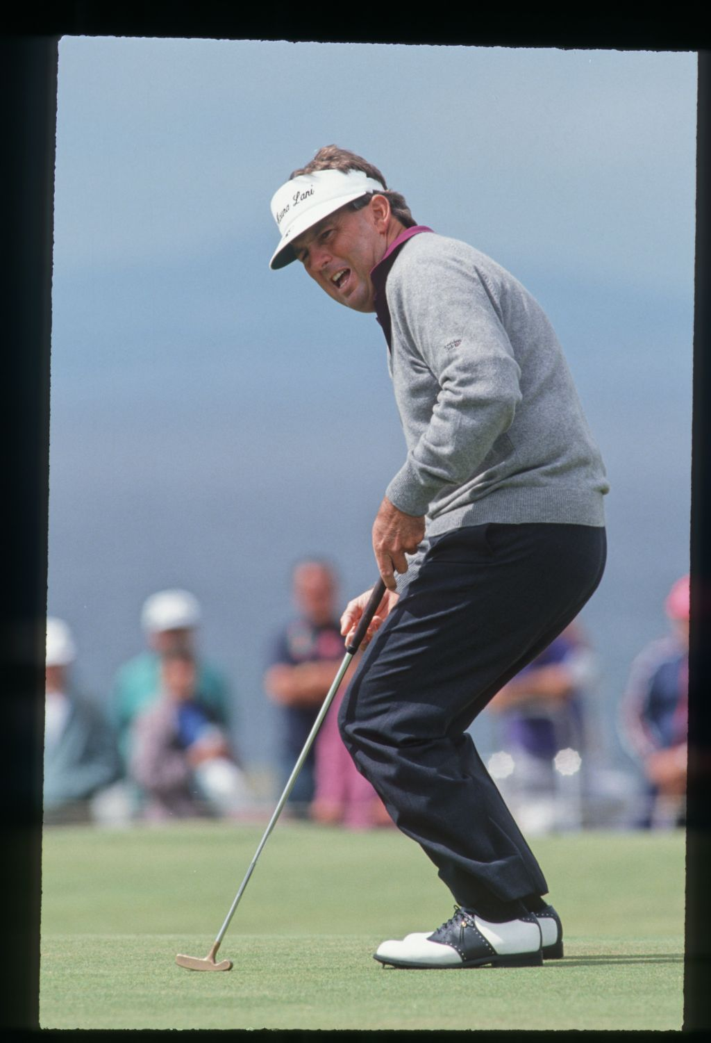 American golfer Lanny Wadkins grimmaces as he misses his putt at the 1992 Open Championship at Muirfield