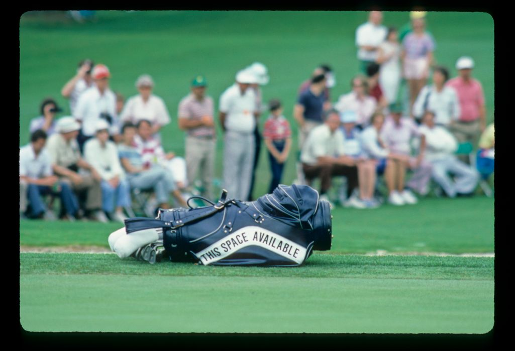 A golfer's bag advertising for sponsorship at the 1984 Masters
