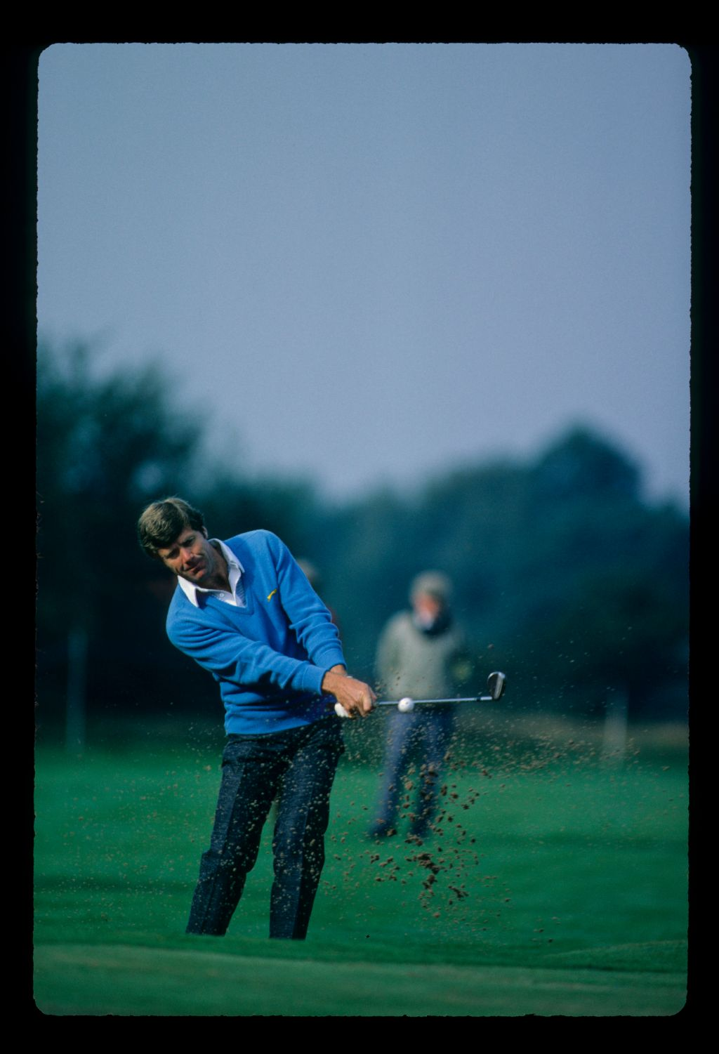 Hugh Baiocchi splashes his ball from a greenside bunker at the Haig Whisky TPC at Moortown