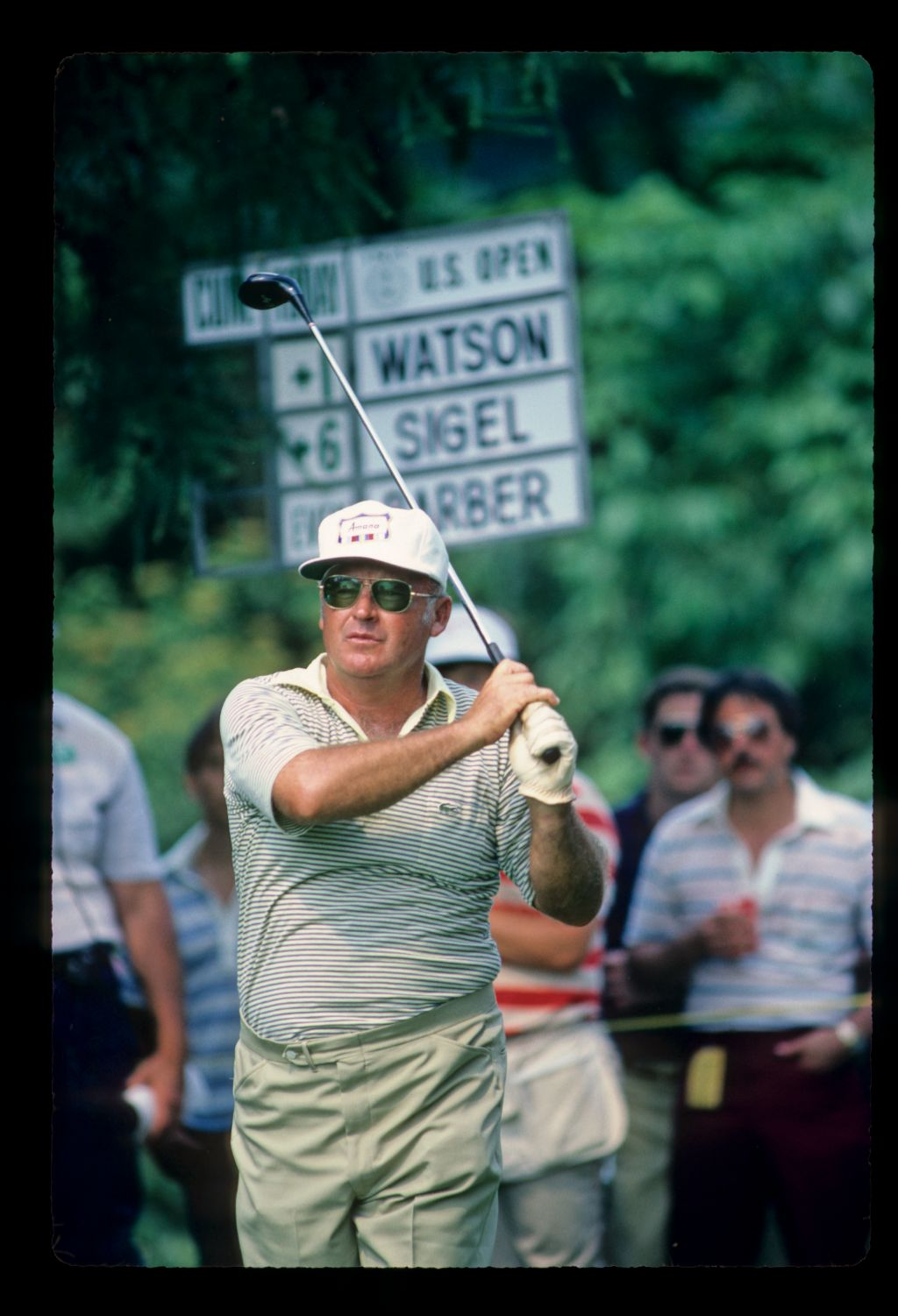A 52 year old Miller Barber making a strong challenge at the 1983 US Open at Oakmont Country Club