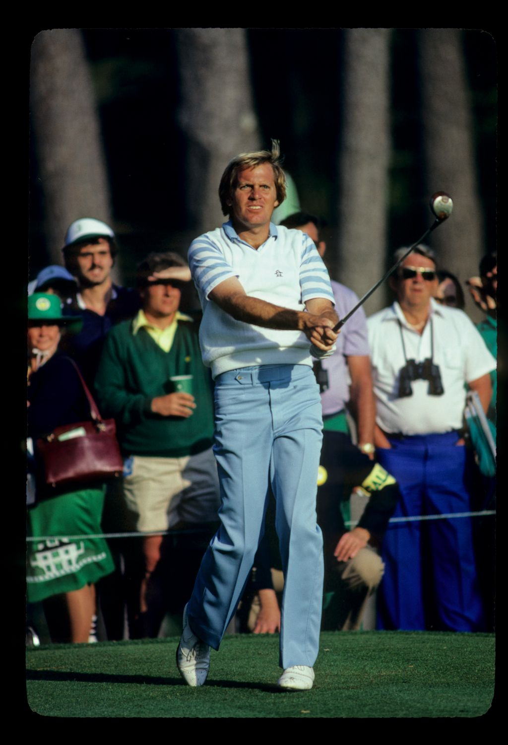 American golfer Keith Fergus looks anxiously after his drive at the 1983 Masters