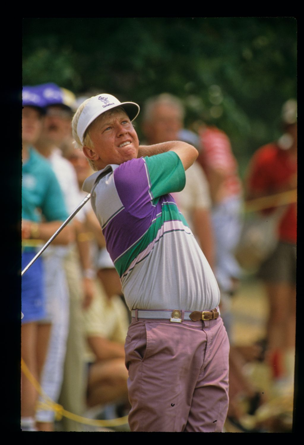 American golfer Billy Mayfair bites his lip with anxiety at the 1988 US Open