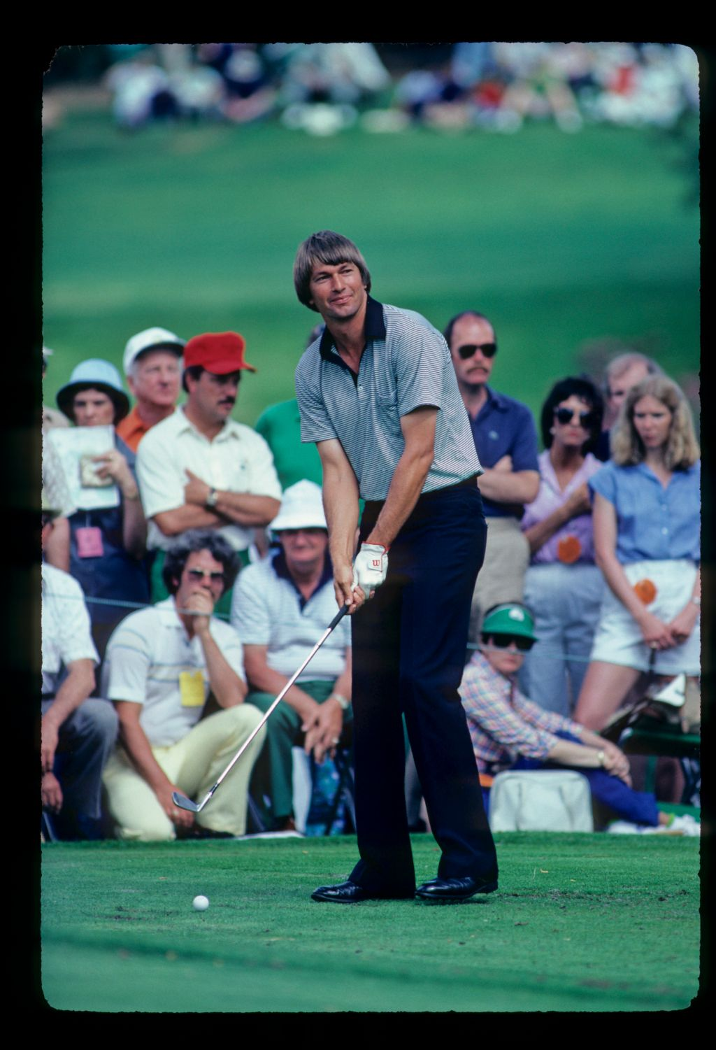 American golfer Tommy Valentine taking wedge off the tee at the 1981 Masters Par Three tournament