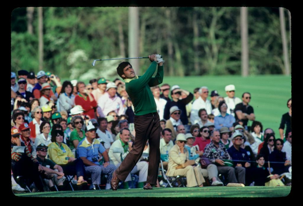 Severiano Ballesteros in full flow on his way to winning the 1983 Masters