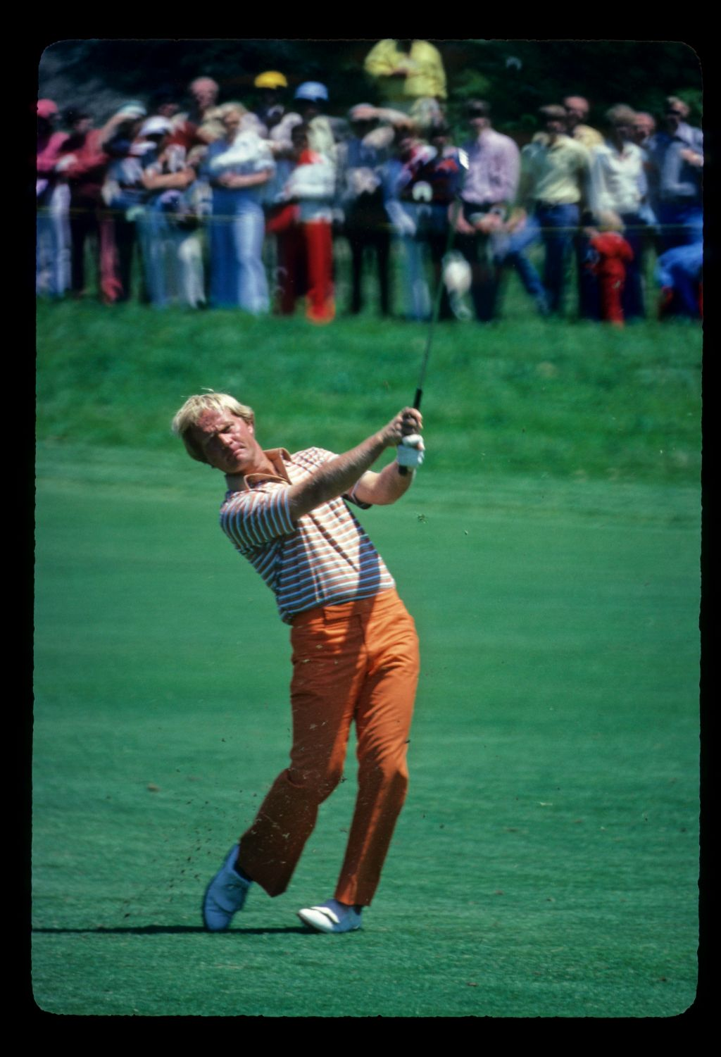 Jack Nicklaus watching his approach shot closely during the 1980 US Open