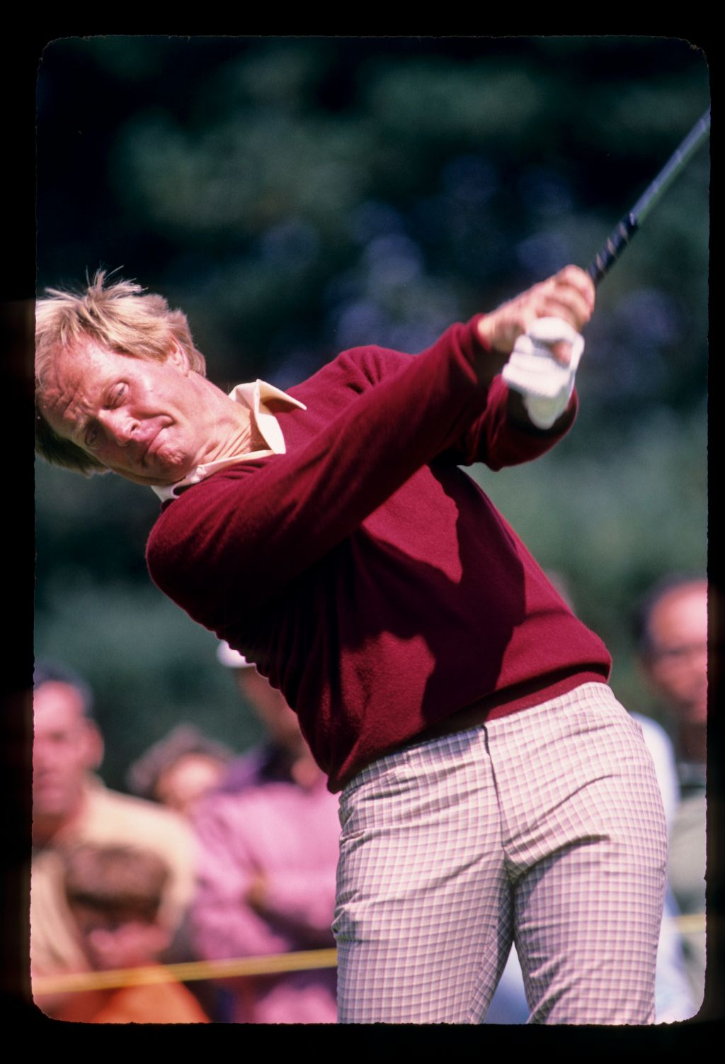 Jack Nicklaus powering through a drive during the 1982 World Series of Golf
