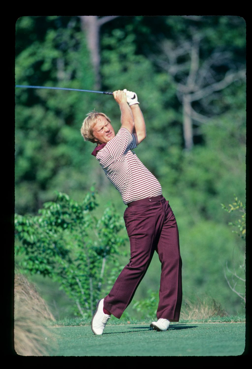 Jack Nicklaus in perfect balance while driving during the 1985 TPC