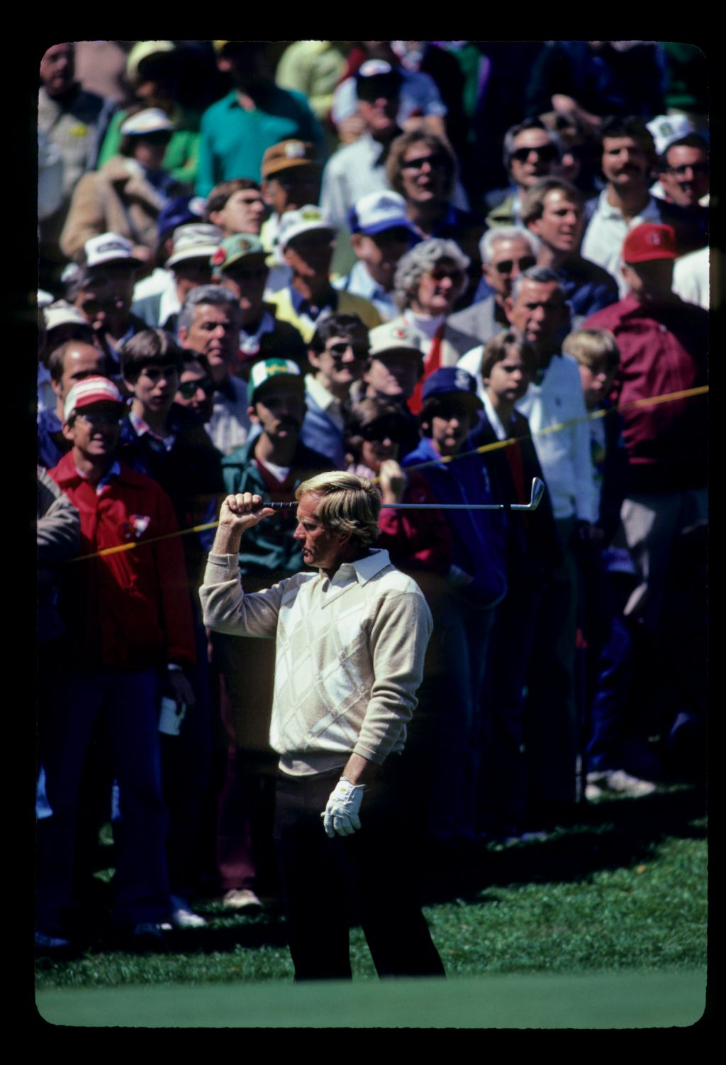 Jack Nicklaus raising his wedge in frustration after his chip during the 1983 Doral Eastern Open