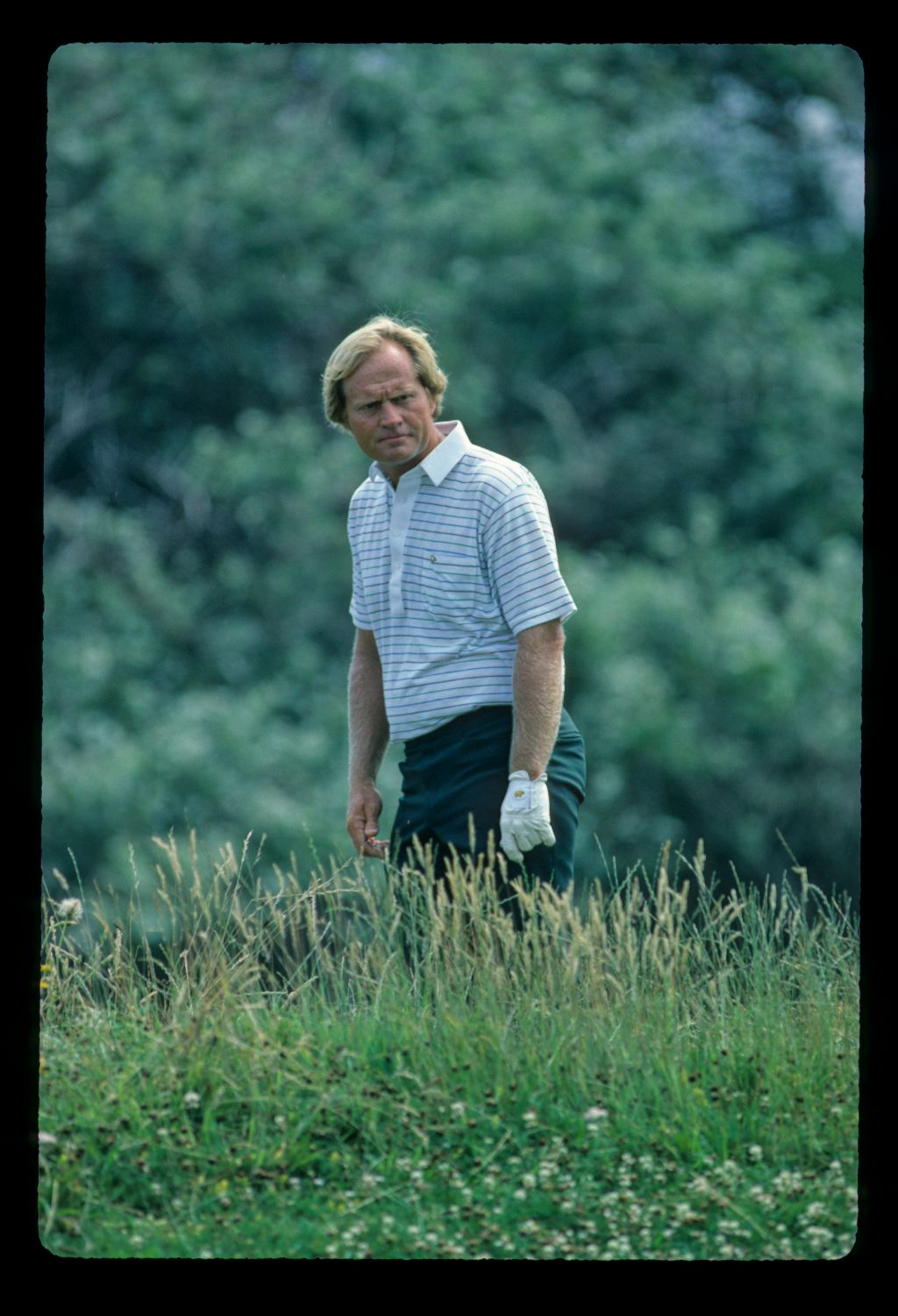 Jack Nicklaus in the thick rough during the 1983 Open Championship