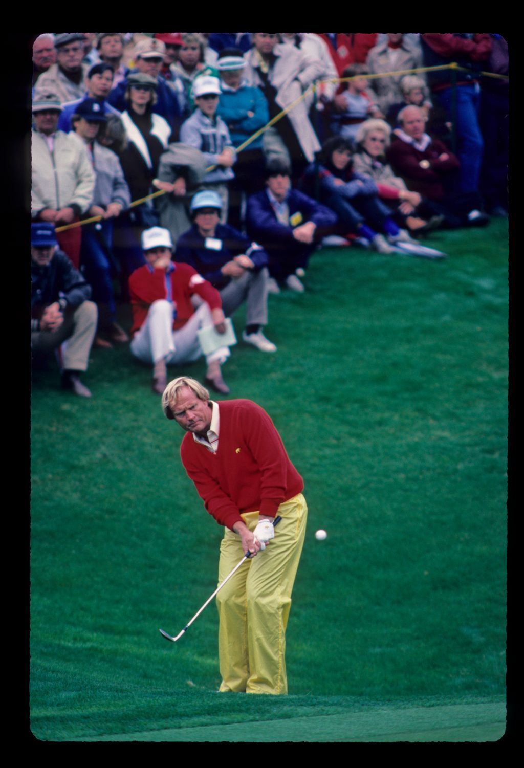 Jack Nicklaus chipping from the greenside semi during the 1984 Skins Game