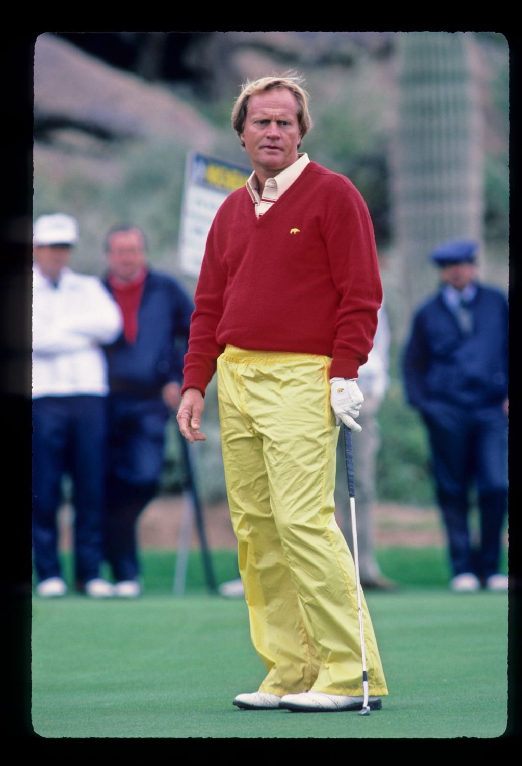Jack Nicklaus with a near miss putt during the 1984 Skins Game