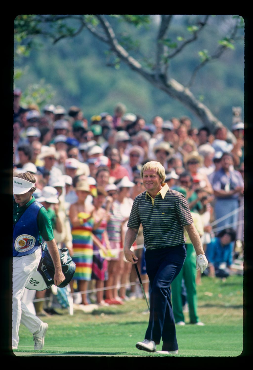 Jack Nicklaus smiling on the green during the 1983 USPGA