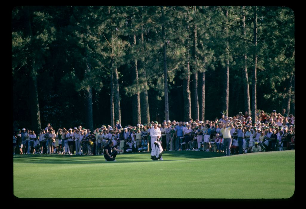 Jack Nicklaus and son Jackie on the fairway during the 1986 Masters