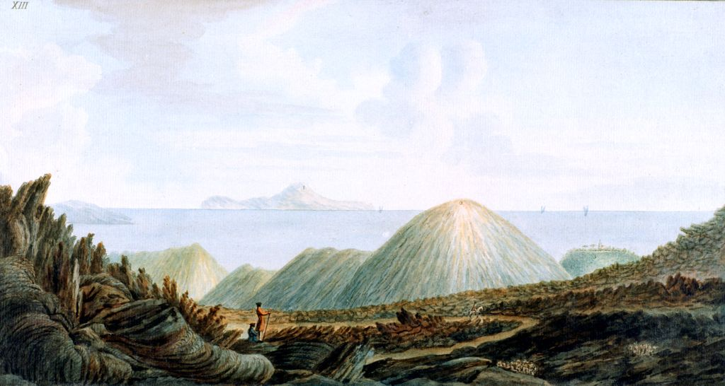 Mountains caused by eruption.