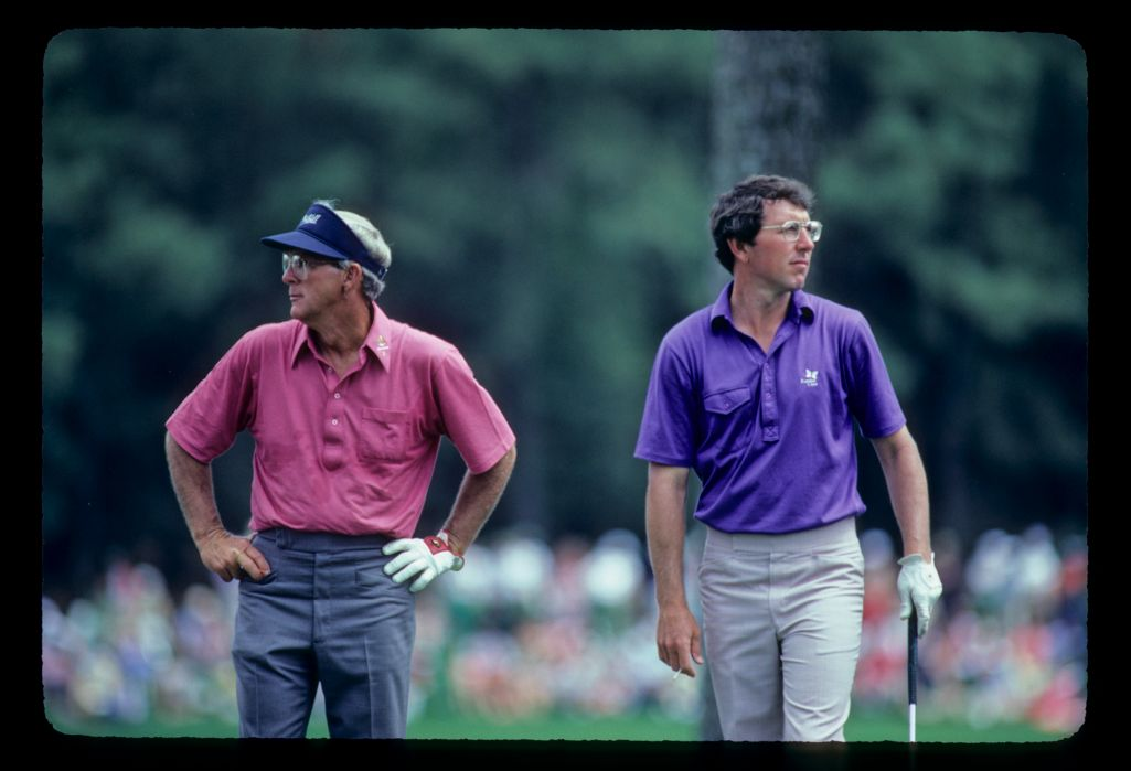 Arnold Palmer and Hale Irwin on the fairway together during the 1983 Masters