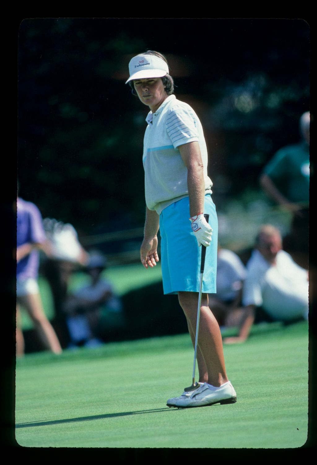 Pat Bradley looking anxiously after her putt at the 1984 Chevrolet World Championship of Women's Golf