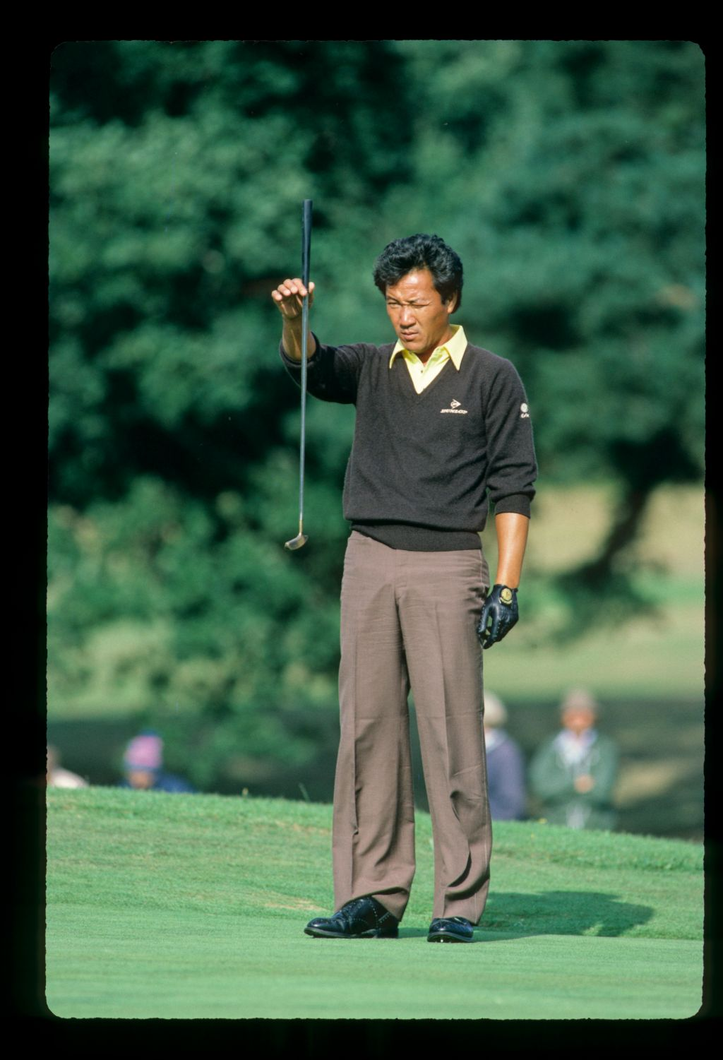 Isao Aoki plumb-lining a putt on his way to winning the 1983 European Open