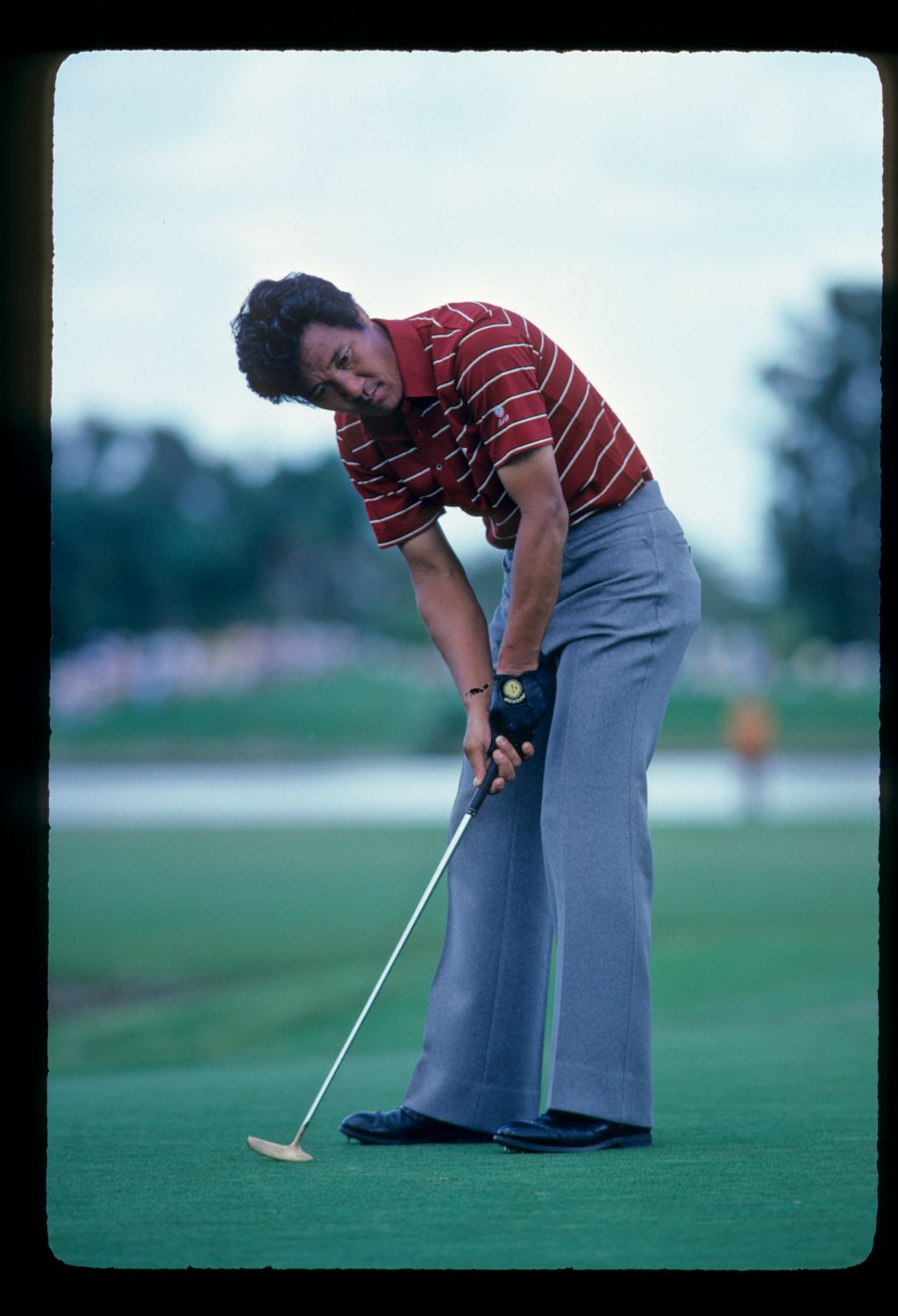 Isao Aoki staring accusingly at a putt during the 1982 Doral Eastern Open