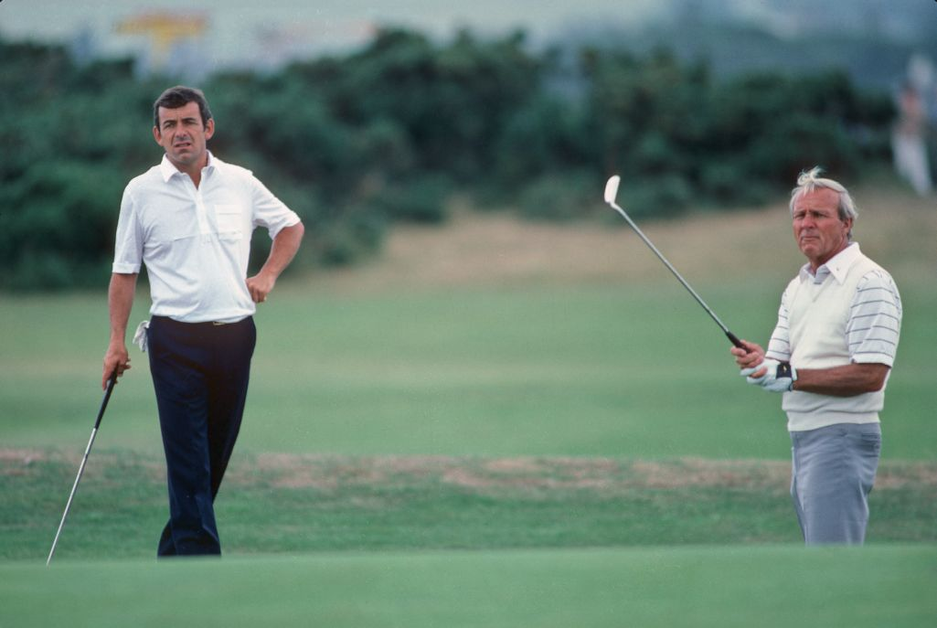 Tony Jacklin and Arnold Palmer on the green at The Open Championship in St Andrews