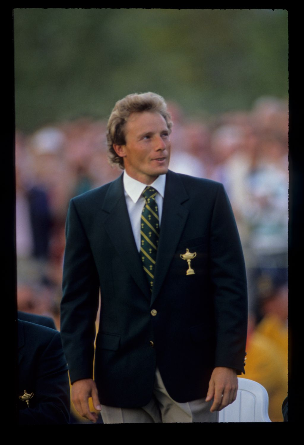 Bernhard Langer being introduced at the 1989 Ryder Cup