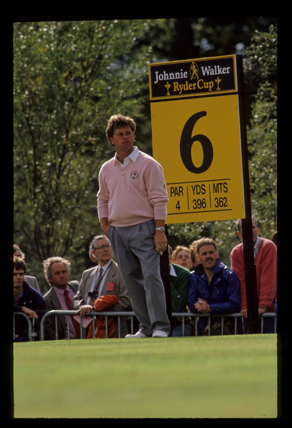 Welsh wizard Ian Woosnam waiting on the sixth tee at the 1989 Ryder Cup with another Welsh Wizard, former Ryder Cup Captain Brian Hugget, watching on