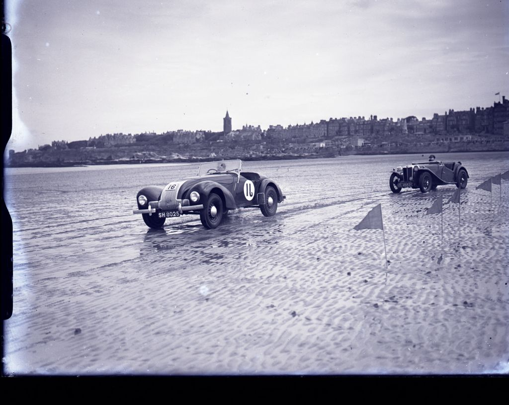 [Lothian Club] Car Racing on West Sands. St Andrews.