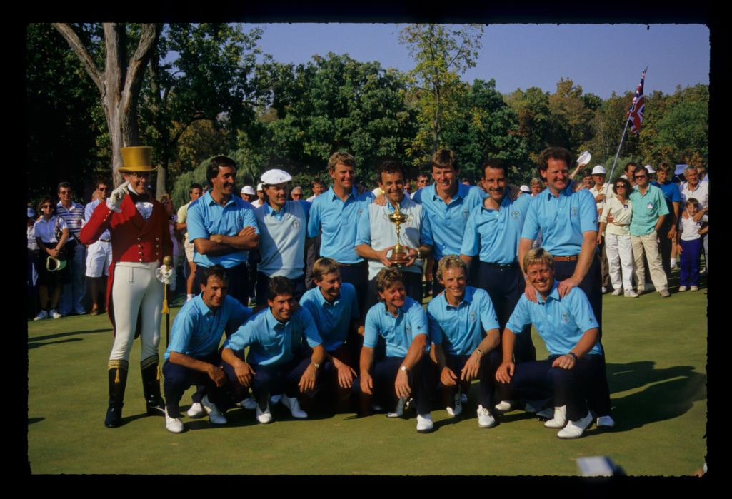 The victorious Euroepan Team after winning the 1987 Ryder Cup